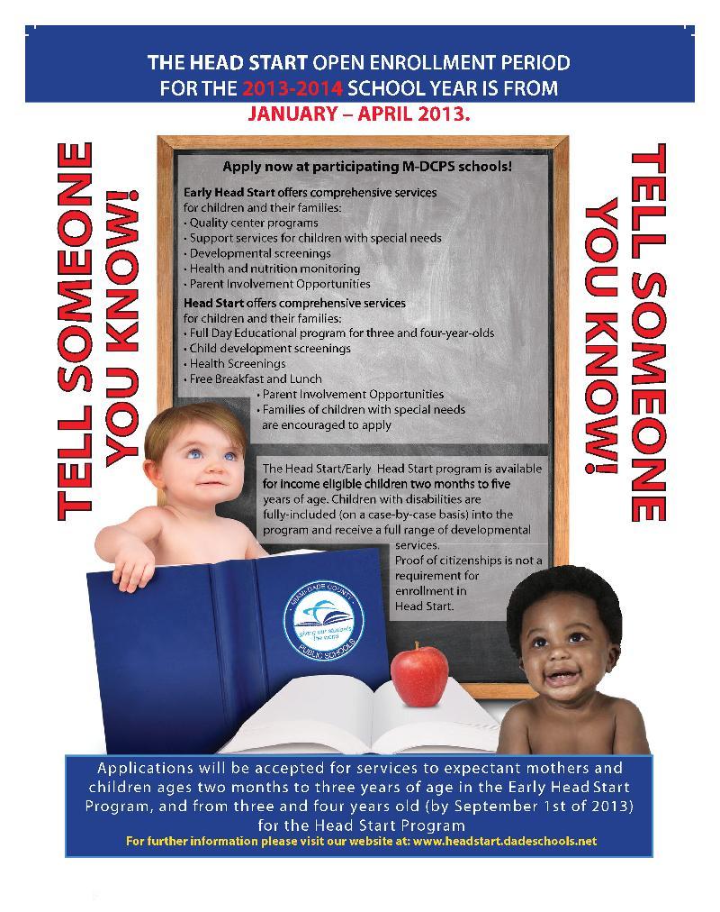 3312 Head Start Open Enrollment Period ends April 2013