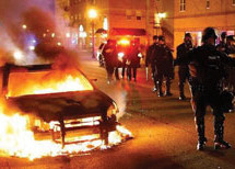 Did military police set fires in Ferguson, blame protestors?