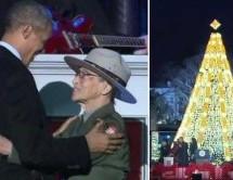 President Obama & 94-year-old Black park ranger light up our nation, Christmas tree