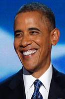 obama smiles Four more years says the President at the DNC