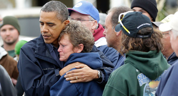 121031 obama hug sandy ap 6052 Obama at Newtown vigil: God has called them all home
