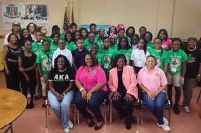 JOE ANN FLETCHERphoto1201 Saint Laurence Chapel Day Shelter partners with the ladies of Alpha Kappa Alpha Sorority, Incorporated for day of service