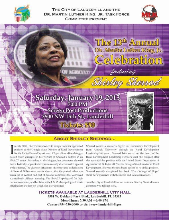 MLK Flyer 2013 eee The 13th Annual Dr.Martin Luther King Jr.Celebration featuring Shirley Sherrod