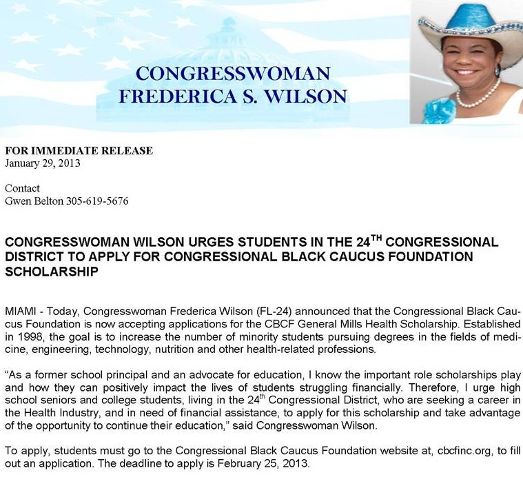 wisdon1 CONGRESSWOMAN WILSON URGES STUDENTS IN THE 24TH CONGRESSIONAL DISTRICT TO APPLY FOR CONGRESSIONAL BLACK CAUCUS FOUNDATION SCHOLARSHIP