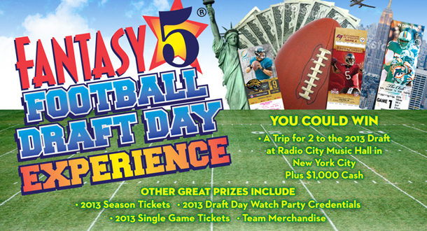 130225 Lottery HOW WOULD YOU LIKE TO WIN A TRIP TO NEW YORK TO ATTEND THE 2013 PROFESSIONAL FOOTBALL DRAFT?