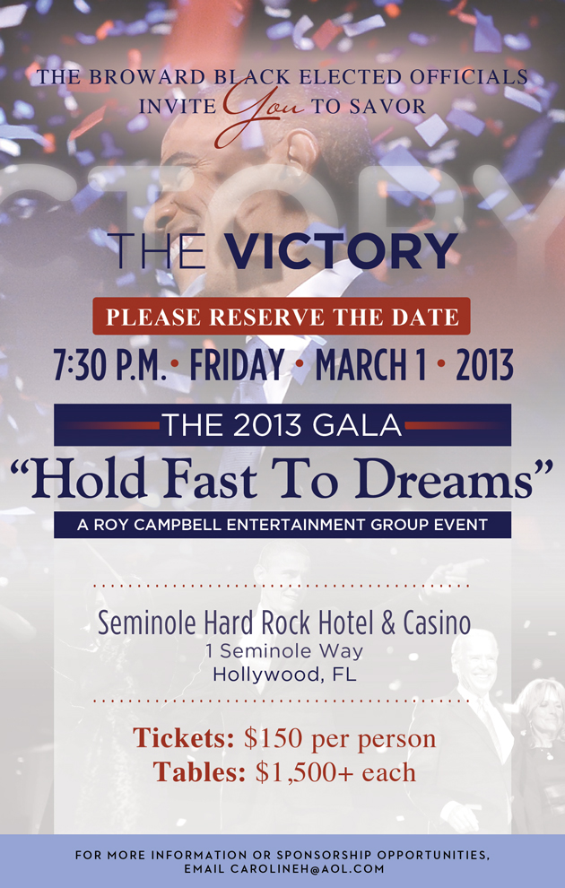BBEO SAVETD Victory THE BROWARD BLACK ELECTED OFFICIALS 2013 GALA Hold Fast To Dreams