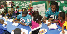 Miami dolphins visit communities in schools of Miami at NFL youth education town at Gwen Cherry Park –