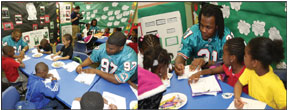Miami Dolphins Miami dolphins visit communities in schools of Miami at NFL youth education town at Gwen Cherry Park