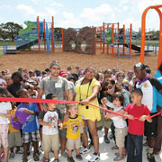 Designed by kids, built by volunteers: Hundreds of volunteers team up to build dream playground for formerly homeless children