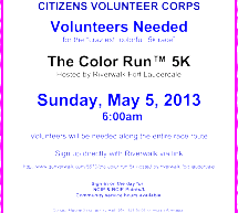 CVC Volunteers Needed! – April 6 & May 5