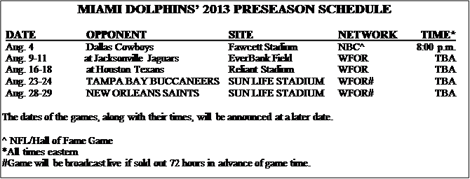 image0091 Miami Dolphins Press Release   Dolphins to Kickoff Preseason in Canton; Visit Jacksonville, Houston; Host Buccaneers, Saints in 2013 Preseason