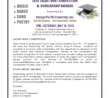 2013 TALENT HUNT & SCHOLARSHIP ANNOUNCEMENT
