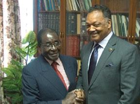 Jessie Jackson and Zimbabwe President Robert Mugabe