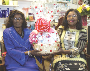 The World Greatest Mom Mrs. Frannie Mae Shappard (l) and Lorene Lanza, owner of Royal Bloom Flowers & Gifts
