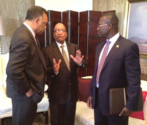 South African President Jacob Zuma (c) with Jessie Jackson and and RainbowPUSH International Director James Gomez