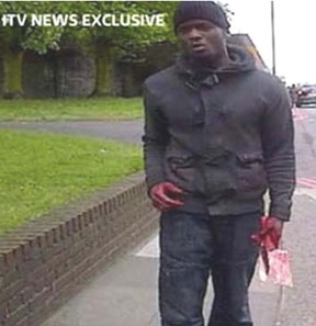 A terrorist wielding with a meat cleaver chopped a British soldier to death