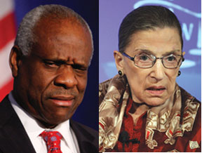 Clarence Thomas and Ruth Bader
