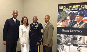 From l to r: Moses Brewer of Community Commerce and Partnerships at MillerCoors, Gwen Brewer, Command Sergeant Major Roger Howard US Army Cadet Command and Willie Harris of US Army's PaYS program (Partnership for Youth Success).