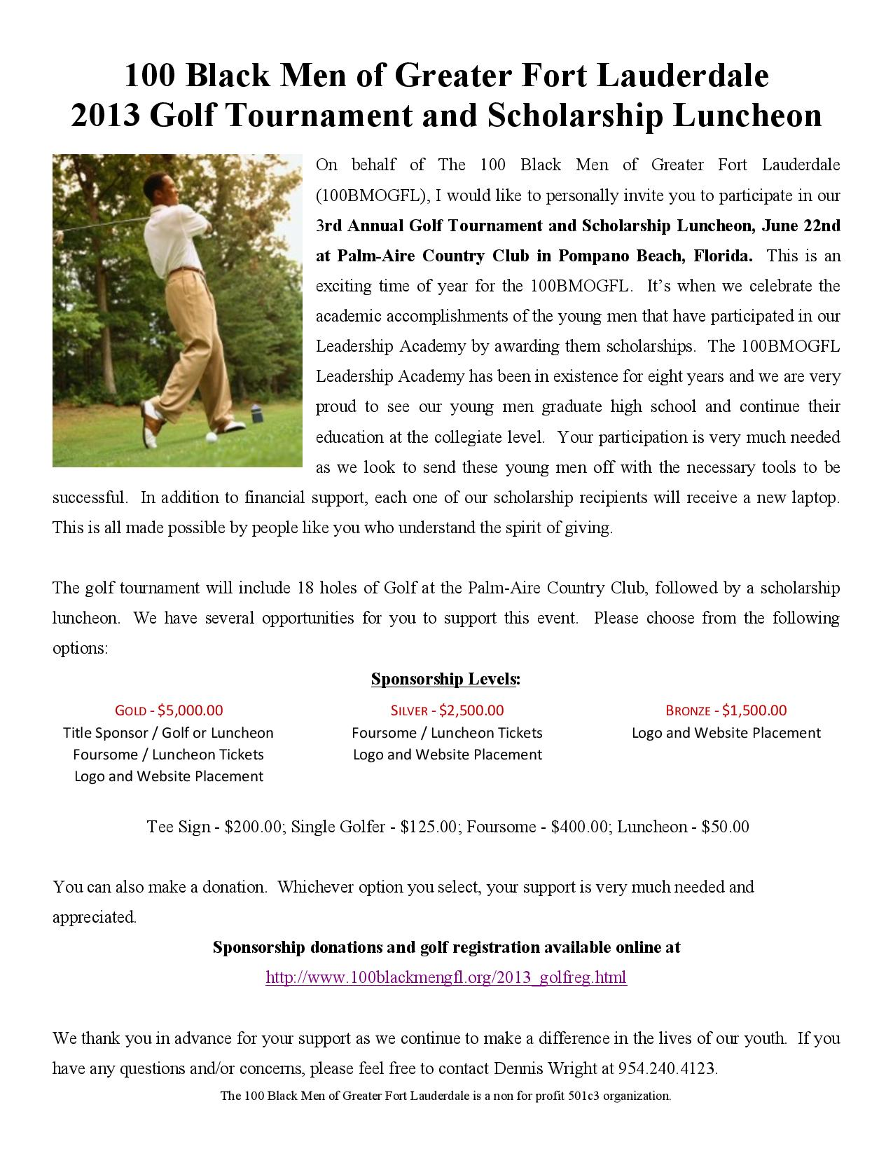 2013 Golf Sponsorship Letter President page 002 100 Black Men of Greater Fort Lauderdale 2013 Golf Tournament and Scholarship Luncheon