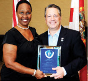 Broward County Commissioner Chip LaMarca  with Florida Counties Foundation Board of Directors Chair and Hendry County Commissioner Janet Taylor