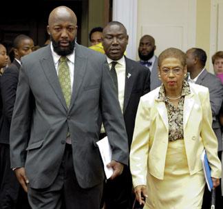 Trayvon Martin father, Tracy Martin and Attorney Benjamin Crump and D.C. Delegate Eleanor Holmes Norton