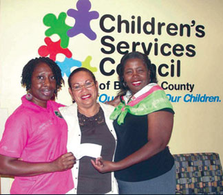 Chi Psi Omega Chapter of Alpha Kappa Alphs Sorority, Inc. members presents check to Children Services Council