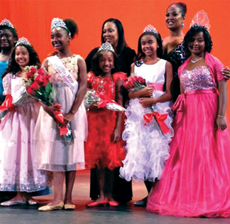 L-r: Adia Shabazz (blue dress), Miyae Folkes, Nay Nay Kirby (Little Miss African American 2013), pageant producer Lisa Ruffin, Mariah Hall, Alexis Pryor, Laila Ali, and far right - Shavon Lucky (Little Miss African American 2012). (Photo credit: Dana Fikes)
