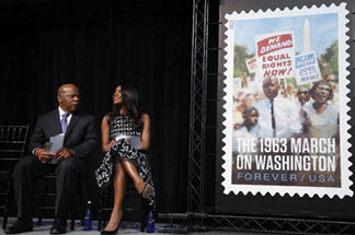 Rep. John Lewis, Gabrielle Union and thousands of Americans help unveil the 1963 March On Washington Stamp artwork
