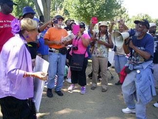 March On Washington holding Bullhorn Megaphone