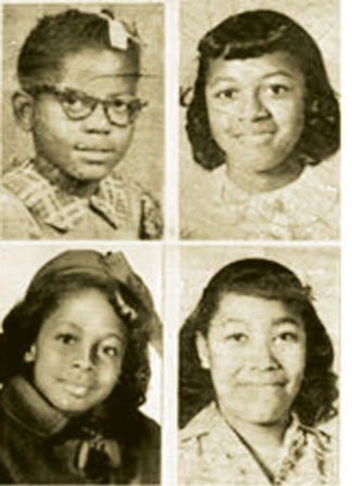 Eleven-year-old Denise McNair and 14-year-olds Carole Robertson, Addie Mae Collins and Cynthia Wesley