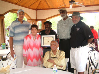 Photo taken Aug. 10, 2013 at the Remembering the Dream Golf Tournament, Dewery McClain, Elevlyn Lowery, Calvin Pete, Walt Bellamy, Jim Washington and Doctor Joseph Lowery (seated) (Photo by Katrina Griggs)