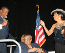 Congresswoman Wilson presented Congresswoman Carrie Meek with Miami-Dade Democratic Party's Lifetime Civic Leadership Award