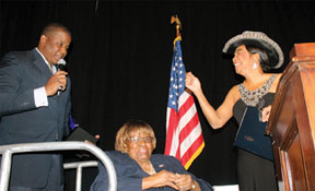 CARRIE MEEKS Congresswoman Wilson presented Congresswoman Carrie Meek with Miami Dade Democratic Party's Lifetime Civic Leadership Award