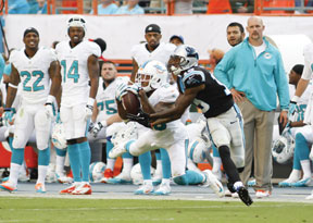Cam Newton's interception by Dolphins Safety#20 Reshad Jones led to a Sturgis field goal before the half on Sunday at SunLife Stadium in Miami, Fla.