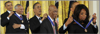 President Barack Obama and Rev. T.C. Vivian, Ernie Banks and Mr. Cubs and Oprah Winfrey (NNPA Photo by Freddie Allen)
