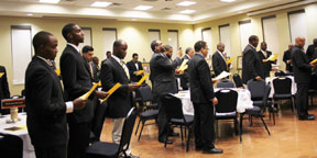 Fraternity members from Zeta Alpha Lambda Chapter are joined by other chapter members from throughout Florida, as they gather to pay tribute on this historical event, during a recent Alpha Phi Alpha Fraternity, Inc., Founder's Day Celebration