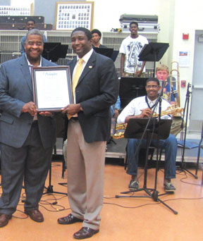 Commissioner Dale Holness and Christopher Dorsey, Director of Jazz Studies and Orchestra Director
