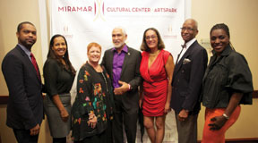 L tor: Miami Counsul General of the Republic of Haiti, Francois Guillaume II Philippe; Miramar Commissioner Yvette Colbourne; Miramar Mayor Lori Moseley; Haitian artist Philippe Dodard; Rafaelle Dodard; Miramar Commissioner Winston F. Barnes; and Miramar Vice Mayor Alexandra P. Davis.