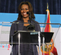 First Lady Michelle Obama visits at the NFL YET Center