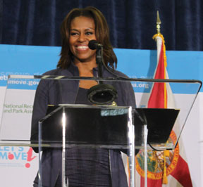 "The First Lady was in South Florida to celebrate the fourth anniversary of her ""Let's Move!"" Campaign."