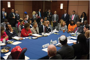 aljew2 Reps. Hastings, Waxman, Lewis, Engel, Green, Wasserman Schultz, fudge, Deutch, Sewell, and Wilson host Black and Jewish members of Congress breakfast