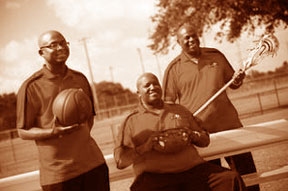 The AthleticSelect team, l to r: Eric Dooling, Travis Smith and Leroy Collins at Central Park in Plantation, Fla.