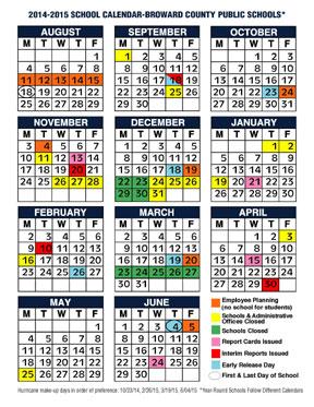 2014 2015 School Calendar Broward County Public Schools The
