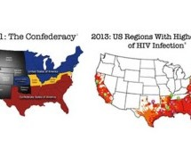 AHF: Map of Confederacy is a near mirror of highest HIV rates in US