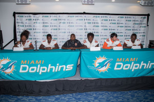 Booker T. Washington  High School football team speaking with the media