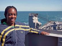 Navy Petty Officer Monique Lee, of Fort Lauderdale, serves aboard USS Ashland (LSD 48)