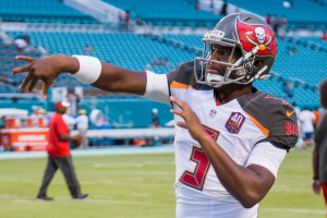 Tampa Bay Buccaneers quarterback #3 Jameis Winston warming up before game against the Miami Dolphins.
