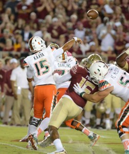 Miami Hurricanes quarterback Brad Kaaya (#15) throws a pass against Florida State.