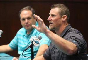 Miami Dolphins interim head coach Dan Campbell speaking to the media. -Shot by Miami Herald