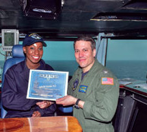 Ship's Serviceman Seaman Verlinne Sylla was recently named Sailor of the Day aboard USS Dwight D. Eisenhower